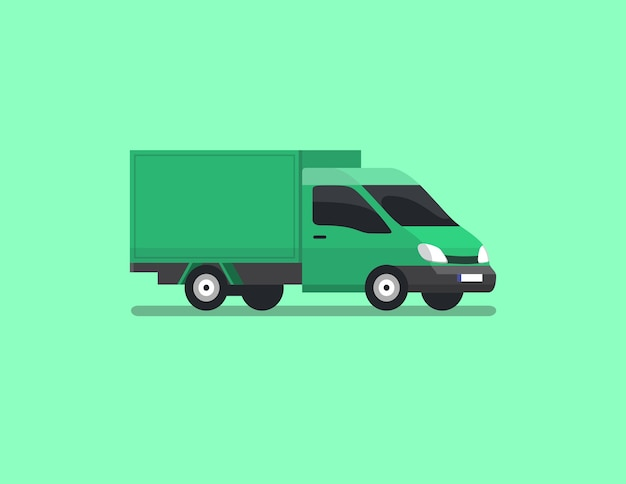 Cargo box car flat vector
