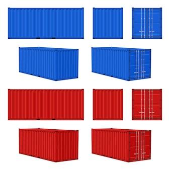 貨物コンテナ。青、赤の閉じた貨物コンテナの正面図、側面図、透視図、輸送配送貨物、国際物流海運業界のベクトル現実的な3dが白いセットで分離