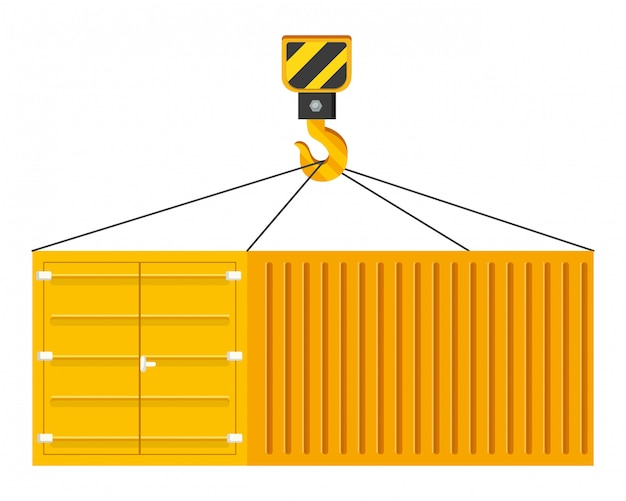 Cargo container hanging on a crane hook illustration