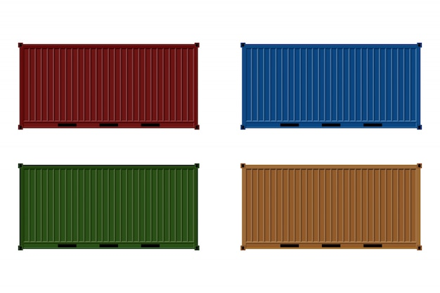 Cargo container illustration isolated on white.