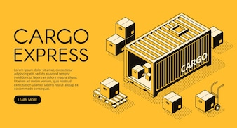 Cargo container logistics illustration of warehouse with parcel boxes unload on pallet
