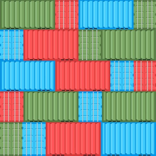 貨物コンテナフラットスタイルのシームレスなパターン配達のための背景デザイン