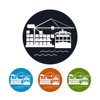 Cargo container ship icon, logistics icon,unloading containers from a cargo ship on the docks,the four types of colorful round icons,vector illustration