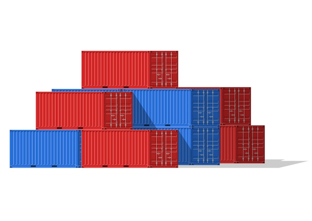 貨物コンテナは、貨物輸送と海上輸出のために積み重ねられます。海港のロジスティクスと輸送