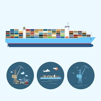 貨物コンテナ船。 3つの丸いカラフルなアイコン、色とりどりのクレーン、クレーンが貨物コンテナ船と貨物コンテナ船からコンテナを降ろす、ロジスティックアイコン、ベクトル図が設定されています