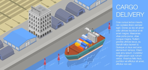 Cargo delivery concept banner, isometric style