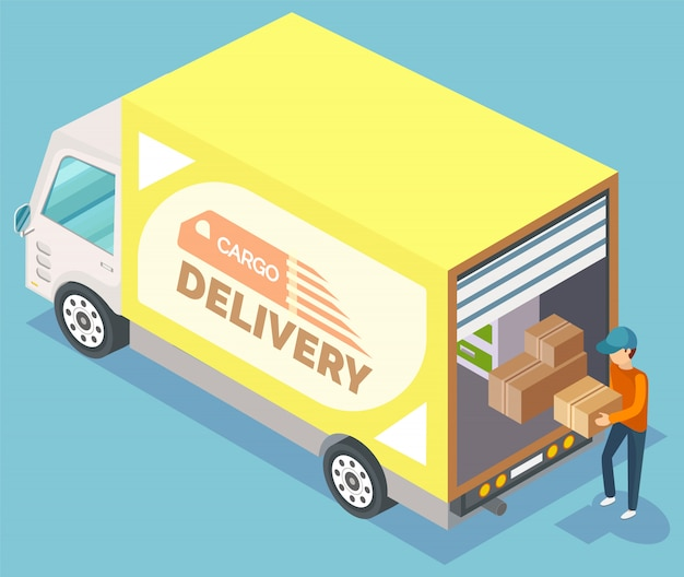 Cargo delivery of furniture, relocation vector