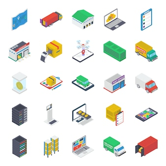 Cargo and delivery icons pack