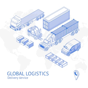 Cargo delivery transport in icons