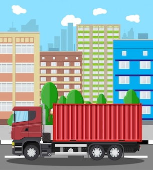 Cargo delivery truck with metal container.