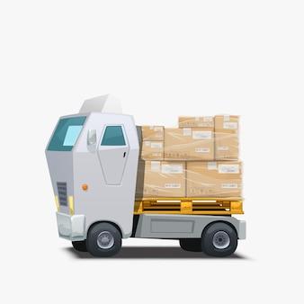 화물 배달 흰색 트럭 운반