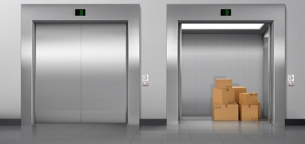 Cargo elevators with closed and open doors in hallway