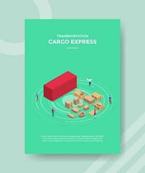 テンプレートバナーとアイソメトリックスタイルのイラストで印刷するためのチラシの貨物エクスプレスの概念