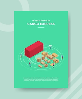 Cargo express concept for template banner and flyer for printing with isometric style illustration