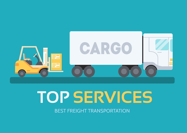 Cargo freight in flat design background concept