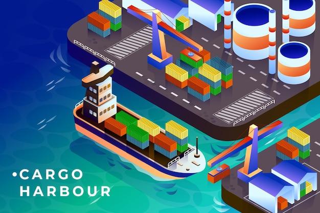 Cargo harbour isometric illustration