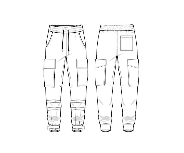 Шаблон плоского эскиза для брюк-карго, брюки-карго, спереди и сзади premium векторы