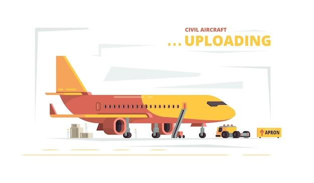 貨物機。民間航空機のテクニカルカーの貨物コンセプトをアップロードします。飛行図の前に航空機を準備して積み込む