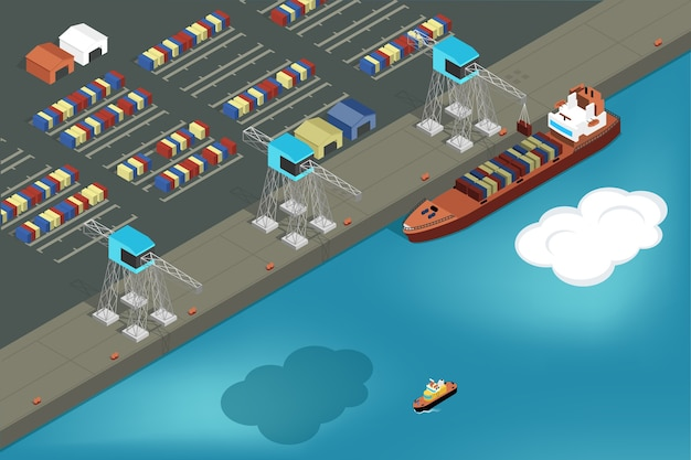 Cargo port. commercial ship loading containers.