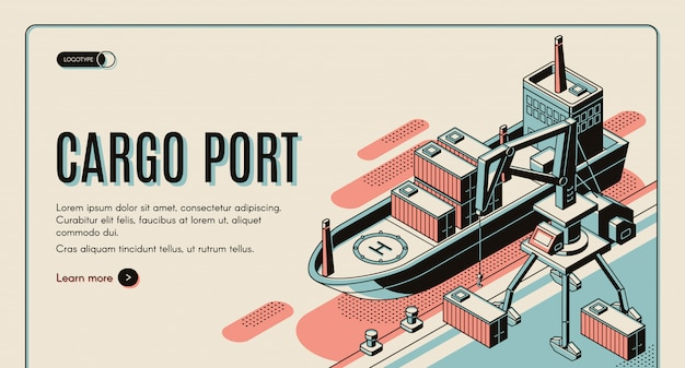 Cargo port isometric  web banner template.