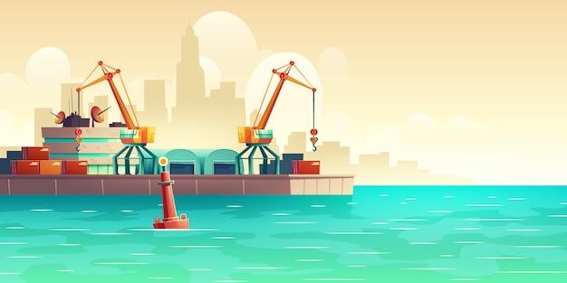Грузовой морской порт на мегаполисе гавань иллюстрации шаржа