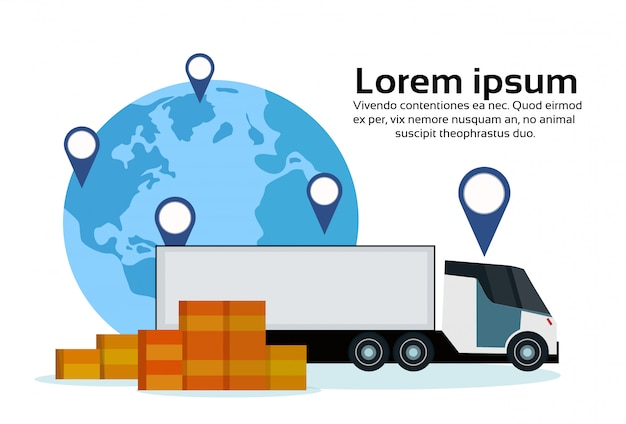 Cargo semi truck geo tag world map delivery transport parcel packages navigation