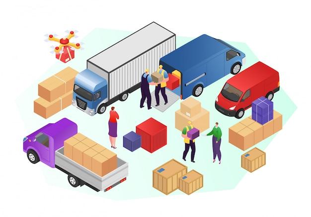 物流サービス、イラストの貨物サービスの男性労働者。箱入りのパッケージ、発送。宅配便のトラック輸送、出荷の人々のキャラクターの仕事。