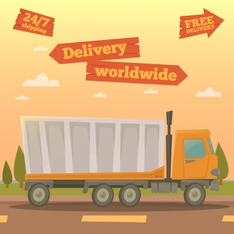 Cargo service. worldwide delivery truck. logistic industry. vector illustration