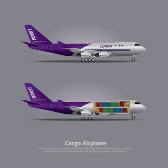 Грузовой корабль самолет изолированные векторные иллюстрации