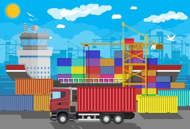 Грузовой корабль, контейнерный кран, грузовик. портовая логистика