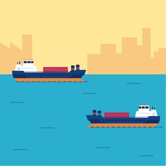 Cargo ship container in the ocean transportation Premium Vector