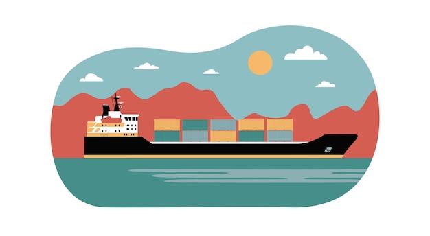 抽象的な風景の背景に貨物船のコンテナ。