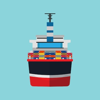 Cargo ship container transportation in flat style