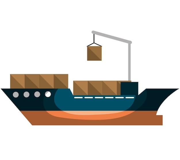貨物船配送サービスベクトルイラストデザイン