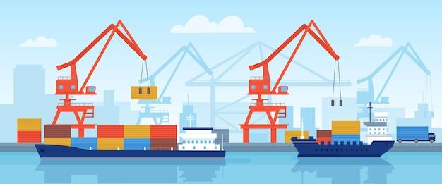 港の貨物船。クレーンで港にコンテナを積み込み、海上輸送を行う。フラットロジスティックまたは海のベクトルの概念によるインポート。クレーンと配送輸送を備えた工業港