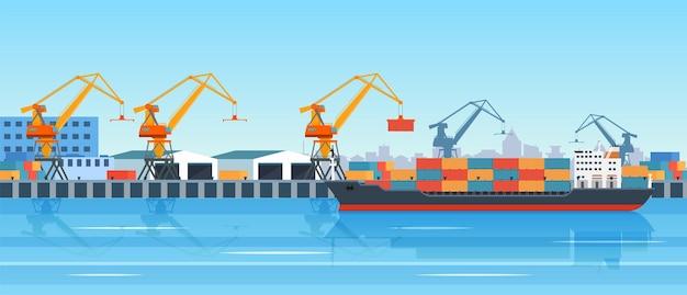 Cargo ship loading in city port.