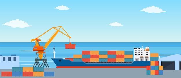 市の港での貨物船の積み込み。