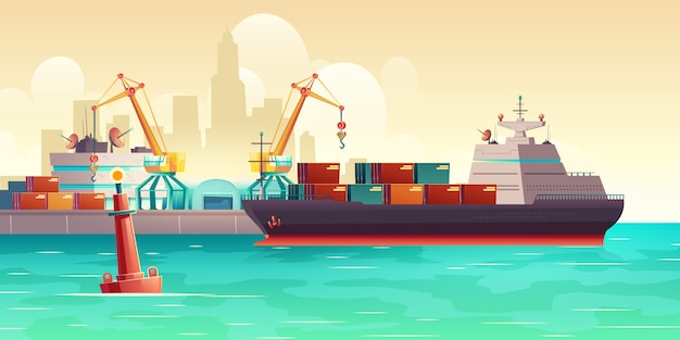 Cargo ship loading in port cartoon illustration