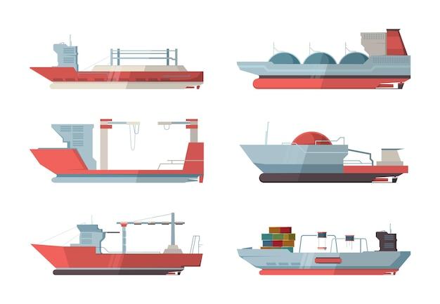 貨物船。クレーンとコンテナを備えた船舶の海洋船は、フラットな画像をベクトルします。輸送貨物コンテナ、船舶マリンビジネスイラスト