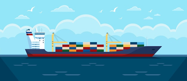 Cargo ship in ocean commercial freight vessel with containers in sea illustration Premium Vector