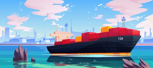Cargo ship in sea port dock illustration