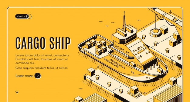 Cargo ship transport logistics isometric landing