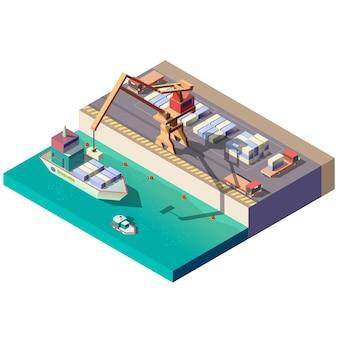 Cargo ship unloading in seaport