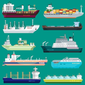 Cargo ship vector shipping transportation export trade container illustration set of industrial business freight transport port shipment isolated