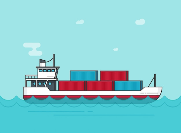 Cargo ship or vessel floating on ocean water illustration in flat cartoon