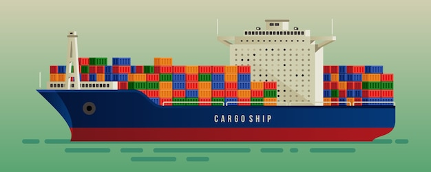 Cargo ship with container