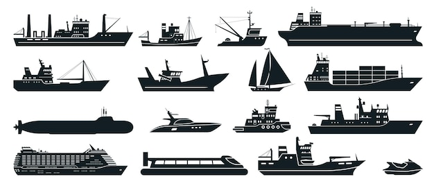 Cargo ship with shipping containers, tourist cruise ships commercial fishing vessel and yacht