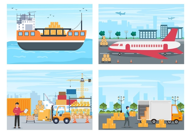 크레인 선박, 트럭 또는 비행기 운송을 사용하여 물품을 배달한다는 개념으로 화물 운송 컨테이너 물류 배달. 배경 벡터 일러스트 레이 션