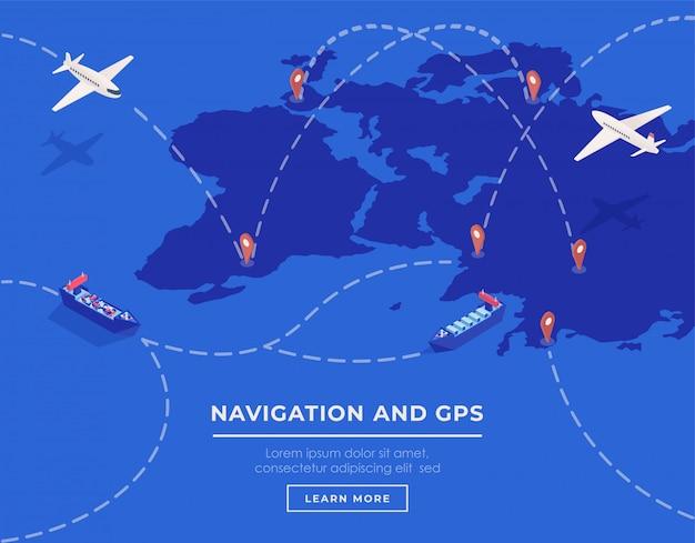 Cargo shipping web banner vector template