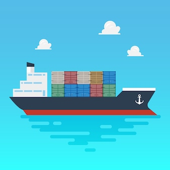 Cargo shipping with containers flat style